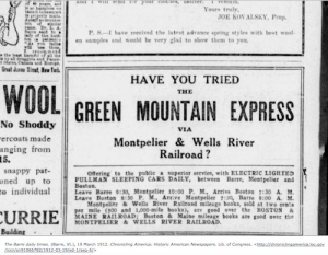 Newspaper Clipping advertising B&M Railroad